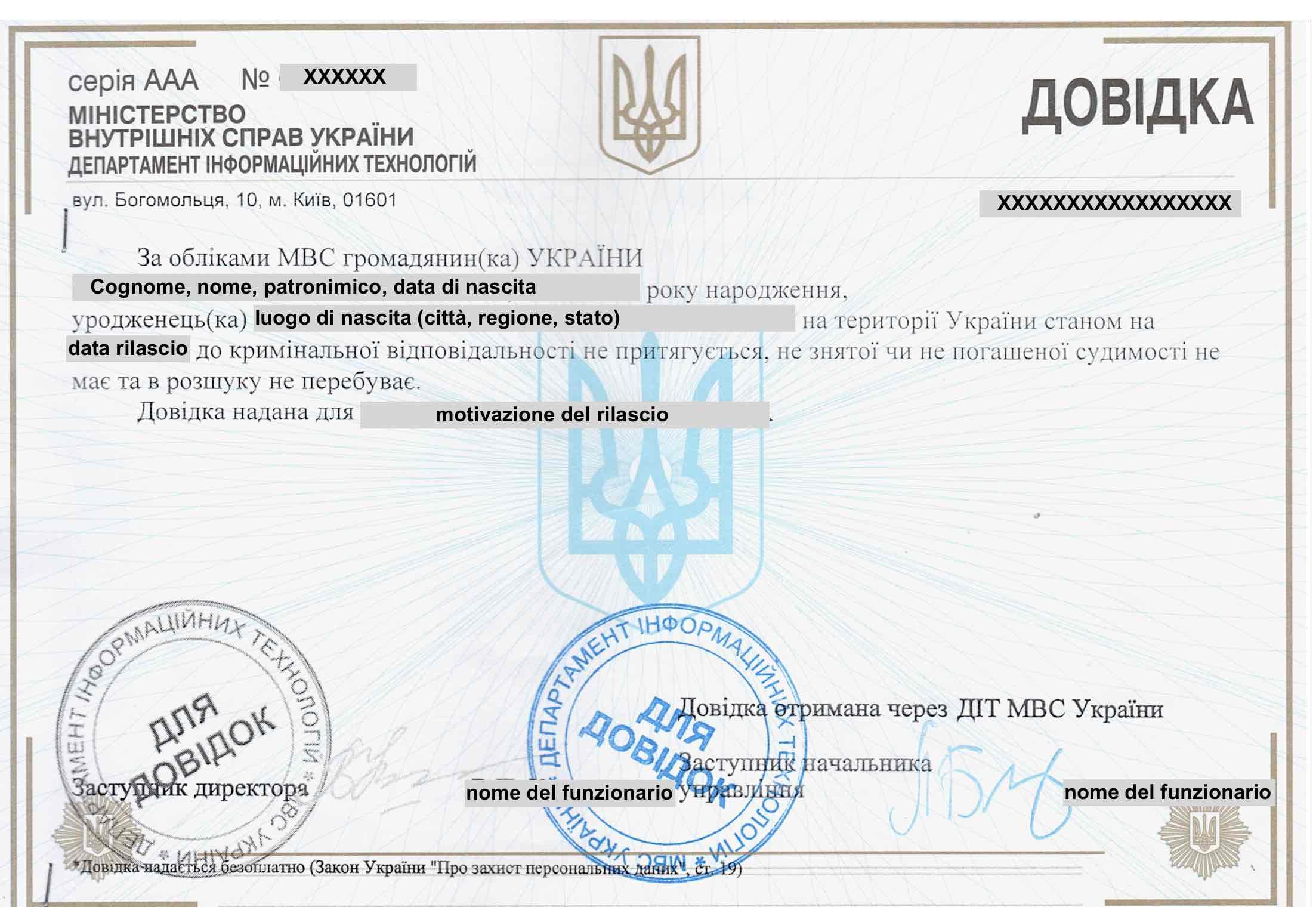 Traduzione giurata a Pescara del Certificato penale ucraino ...