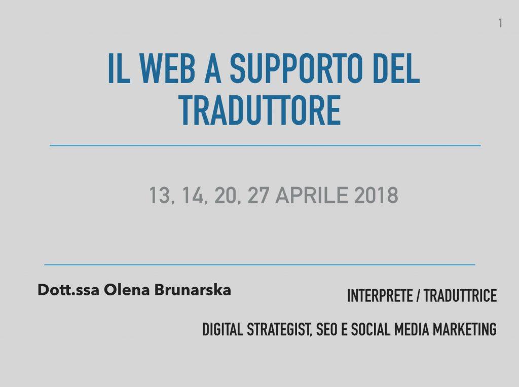 Il web a supporto del traduttore_Mediazione Linguistica_Olena Brunarska