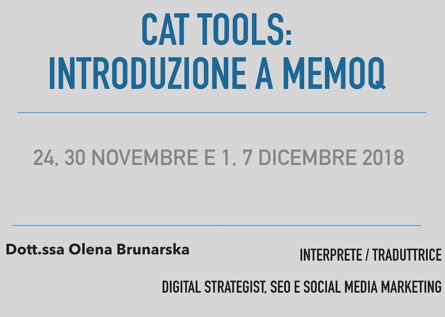 CAT tools Introduzione a memoQ Seminari unich Mediazione Linguistica