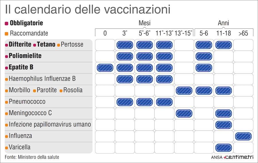 Calendario vaccinazioni generico - traduzione del Certificato o Libretto di vaccinazioni