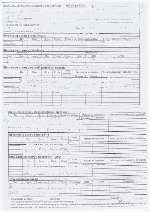 Esempio traduzione del Certificato o Libretto di vaccinazioni